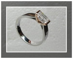 rose gold and emerald cut